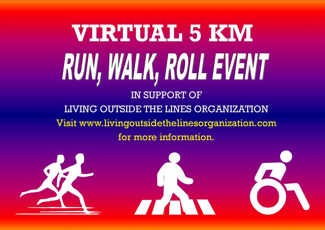 virtual run, walk, roll advertisement